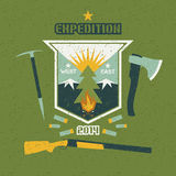 Expedition emblem with shabby texture. Tourism emblem in a flat style with shabby texture Royalty Free Stock Photos