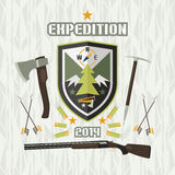 Expedition emblem. Tourism emblem in flat style Royalty Free Stock Photography