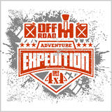 Expedition - emblem with 4x4 vehicle off-road design elements Stock Image