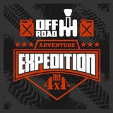 Expedition - emblem with 4x4 vehicle off-road design elements Stock Photography