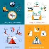 Expedition Flat Set Royalty Free Stock Image