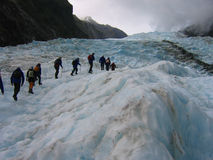 Expedition on a glacier Royalty Free Stock Photos