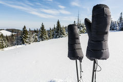 Expedition gloves for trekking poles. Very warm expeditionary gloves for trekking poles Royalty Free Stock Photo