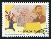 Expedition of Luis Cruls. BRAZIL - CIRCA 1992: stamp printed by Brazil, shows Expedition of Luis Cruls, circa 1992 stock photos