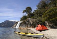 Expedition in Patagonia. Camping beside the lake, Nahuel Huapi National Park, Bariloche, Patagonia, Arentina stock images