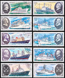 Expedition ship. USSR - CIRCA 1979: A post stamp printed in USSR shows the expedition ship, series devoted scientific ships of USSR, circa 1979 stock image