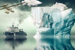 Expedition to the Antarctic. To a rare mammoth stock images