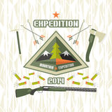 Expedition to the mountains. Emblem expedition to the mountains in flat style and bright colors Royalty Free Stock Images