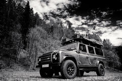 Expedition vehicle. Land Rover Defender with expedition equipment Royalty Free Stock Images