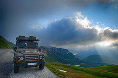 Expedition vehicle. Land Rover Defender with expedition equipment Royalty Free Stock Photography