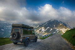 Expedition vehicle. Land Rover Defender with expedition equipment Royalty Free Stock Image