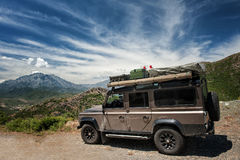 Expedition vehicle. Land Rover Defender with expedition equipment Stock Photo