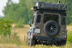 Expedition vehicle. Land Rover Defender with expedition equipment Stock Images