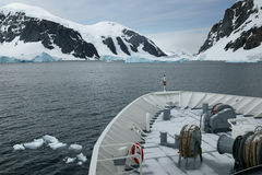 Expedition vessel, Neumayer Channel, Antarctica Stock Images