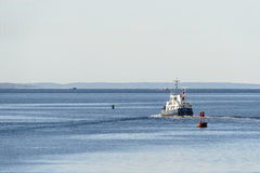 Expedition yacht leaving New Bedford Royalty Free Stock Image