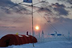 Expeditionen, en polar station royaltyfria bilder