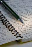 Expeditionjournal, handgeschrieben mit einem Bleistift Stockbild