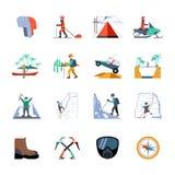 Expeditions-Ikonen eingestellt Stockbild