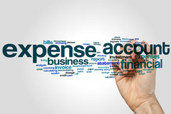 Expense account word cloud concept on grey background Stock Images