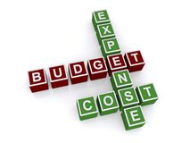Expense budget cost crossword Royalty Free Stock Photos
