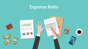 Expense ratio illustration vector with paperworks, money and calculator on top of table. Vector Royalty Free Stock Images