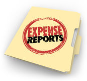 Expense Report Stamp Manila Folder Receipts Documents. Expense Report words stamped on a manila folder collecting a file of receipts and other documents for Stock Images