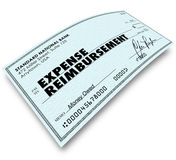 Expense Report Words on Check Reimbursement Payment Royalty Free Stock Photo