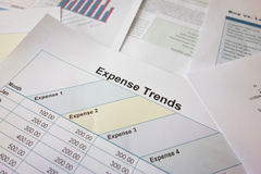 Expense trend calculation. Financial expenses calculation and identifying the trend Stock Images