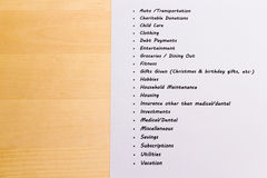 Expenses and Budget List with Wooden Background Royalty Free Stock Photography