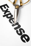 Expenses Cut. Text of Expense and scissors, concept of Expense cut Stock Images