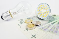 Expenses on electricity. Electric bulbs lying Polish money Stock Image