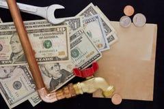 Expenses for repair waterpipe Stock Image