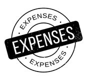 Expenses rubber stamp. Grunge design with dust scratches. Effects can be easily removed for a clean, crisp look. Color is easily changed Royalty Free Stock Photography