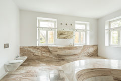 Expensive bathroom with marble floor Stock Images