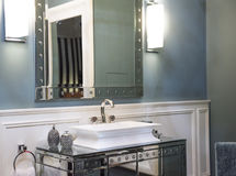 Expensive Bathroom Sink and Mirrored Cabinet Stock Photo