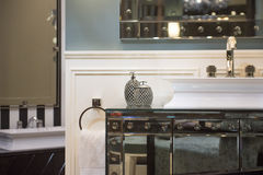 Expensive Bathroom Sink and Mirrored Cabinet Royalty Free Stock Photos