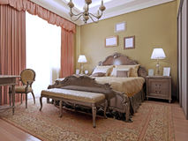 Expensive bedroom art deco style. Interior bright bedrooms made from the highest quality materials. The luxurious English style. 3D render stock images