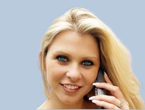 Expensive Call. Telephone Girl Chatting Stock Images