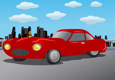 Expensive car. Illustration of a luxurious expensive car in red paint over city background Royalty Free Stock Image