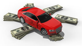 Expensive car. 3D render image representing a car on stack of money Royalty Free Stock Image