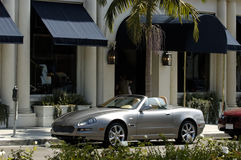 Expensive car on Rodeo Drive. Italian import car parked on Rodeo Drive California stock photo