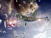 Expensive carburant. Hundred dollars bank notes in the sky  ejected out of a plane  as it was losing money through its reactors Stock Image