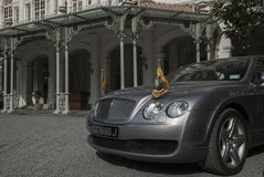 Expensive cars in front of Raffles Royalty Free Stock Image