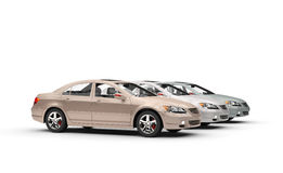 Expensive cars in showroom. Three cool cars in showroom Royalty Free Stock Image