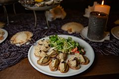 Expensive catering. Pate from fush and eggs. Serving at restaurant. sea food royalty free stock image