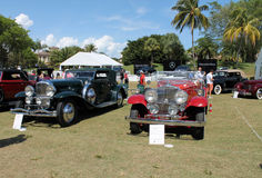 Expensive classic antique american cars. Old luxurious classic American cars with elegant styling in a lineup at car show in south Florida, 2014. in the Royalty Free Stock Images
