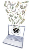 Expensive Computer Technology Money Drain. A computer laptop with a drain on the screen and American money going down the drain stock images