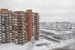 Expensive Condo buildings under snow Stock Photos