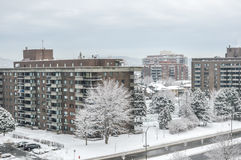 Expensive Condo buildings under snow Stock Image
