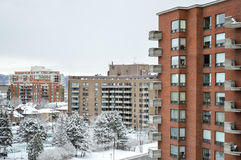 Expensive Condo buildings under snow Royalty Free Stock Photography